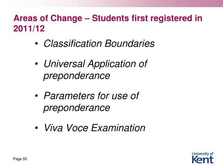 Areas of Change – Students first registered in 2011/12