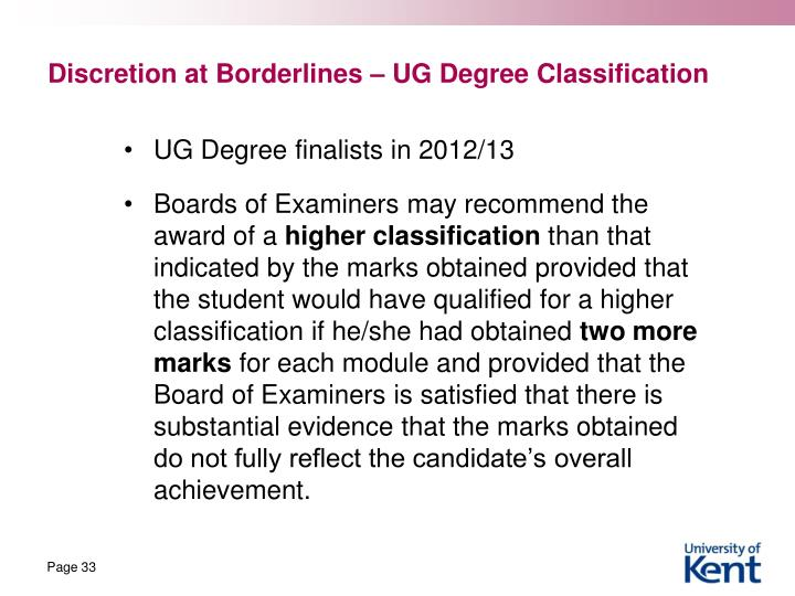 Discretion at Borderlines – UG Degree Classification
