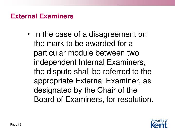 External Examiners