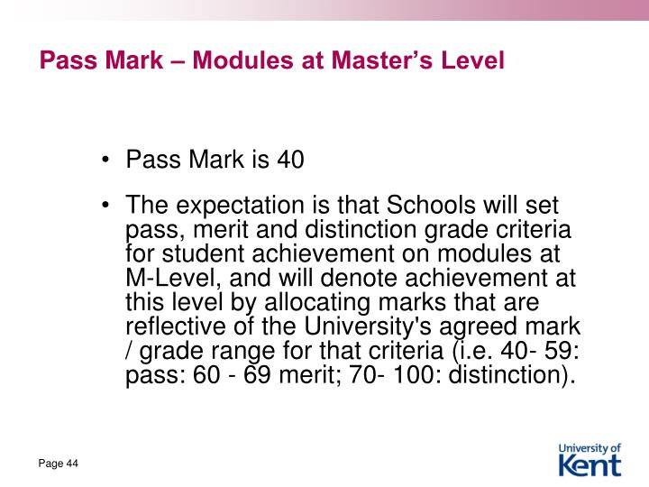 Pass Mark – Modules at Master's Level