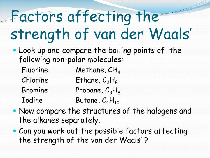 Factors affecting the strength of van der Waals'