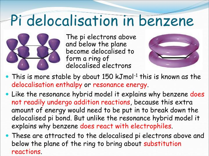 Pi delocalisation in benzene