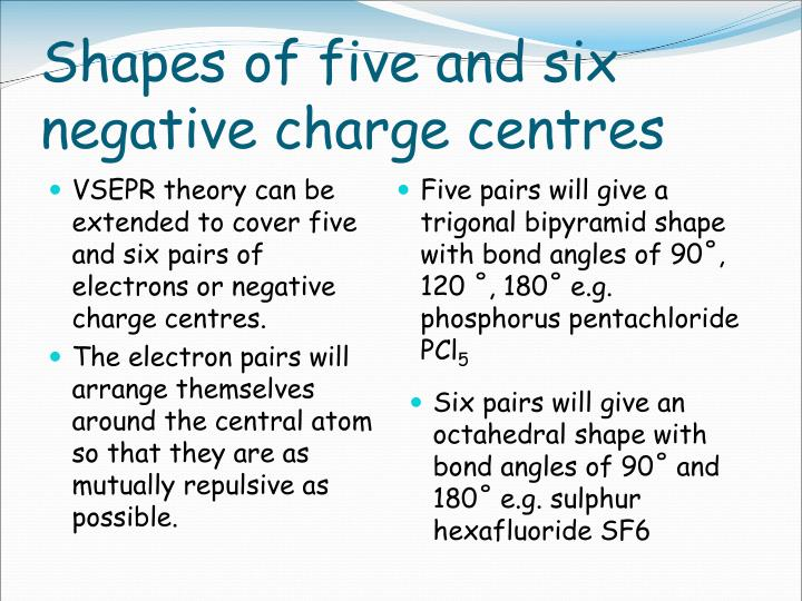 Shapes of five and six negative charge centres
