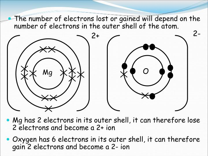 The number of electrons lost or gained will depend on the number of electrons in the outer shell of the atom.
