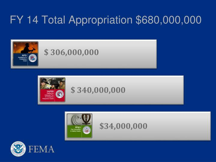 FY 14 Total Appropriation $680,000,000