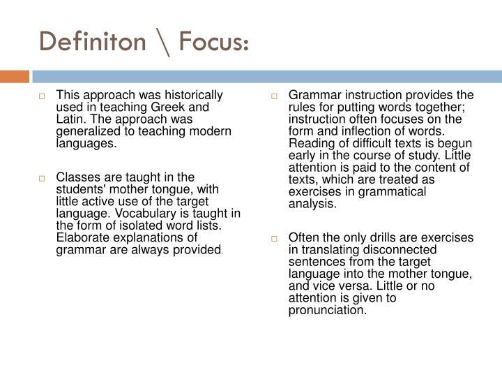 Definiton focus