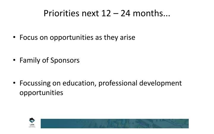 Priorities next 12 – 24 months...