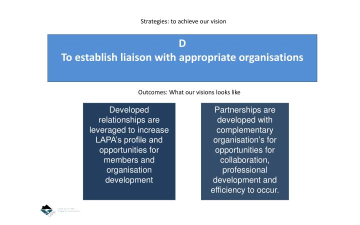 Strategies: to achieve our vision