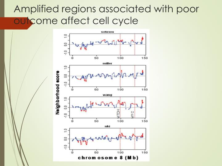 Amplified regions associated with poor outcome affect cell