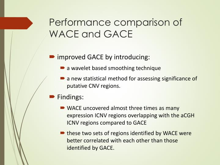 Performance comparison of WACE and
