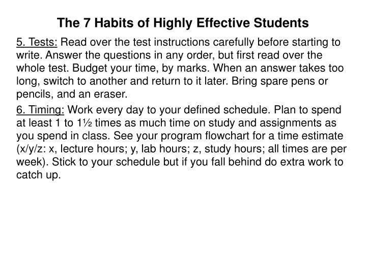 The 7 Habits of Highly Effective Students