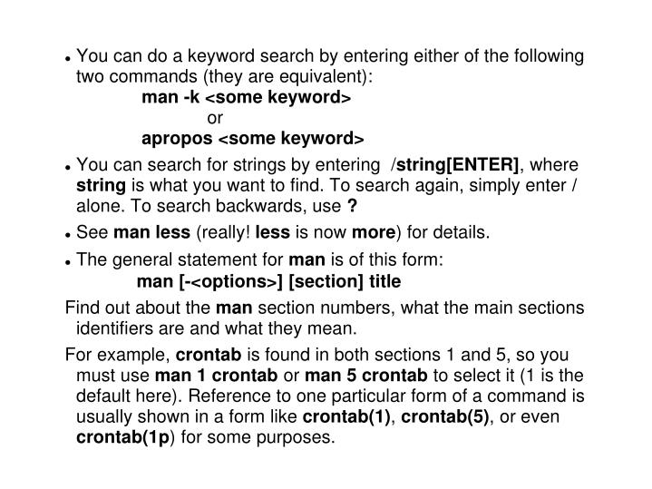 You can do a keyword search by entering either of the following two commands (they are equivalent):
