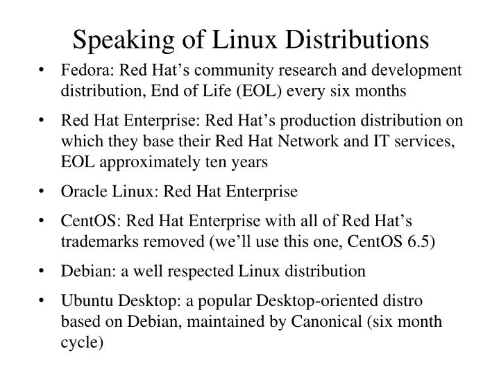 Speaking of Linux Distributions
