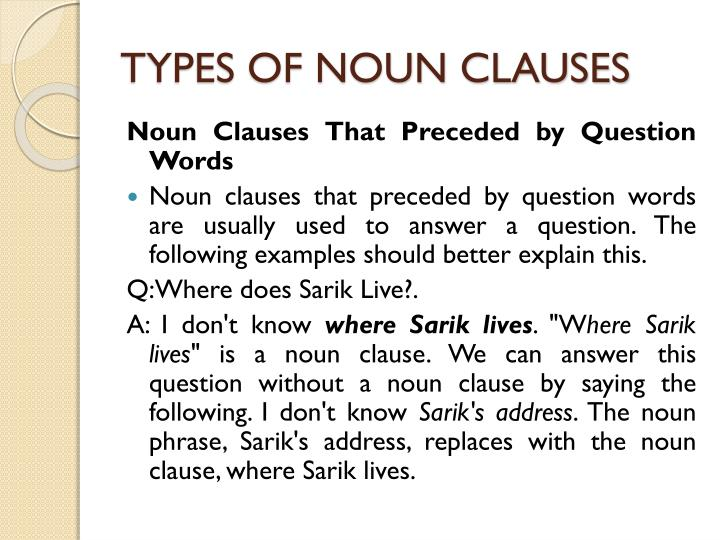 types of noun clauses