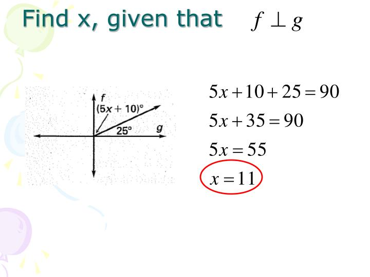 Find x, given that