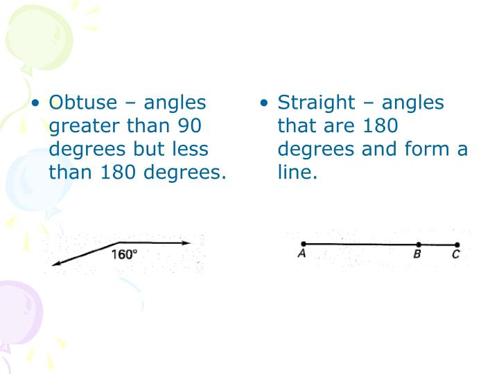Obtuse – angles greater than 90 degrees but less than 180 degrees.