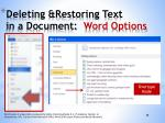 deleting restoring text in a document word options