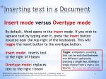 inserting text in a document