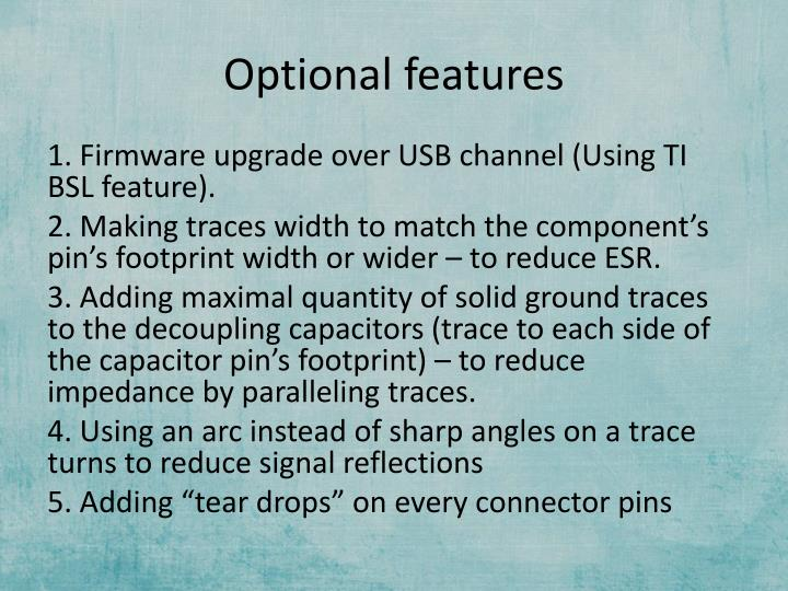 Optional features