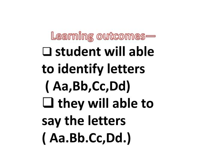 Learning outcomes—
