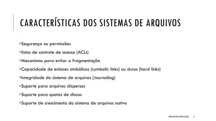 Características dos sistemas de