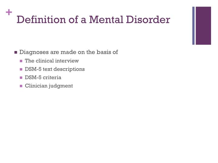Definition of a Mental Disorder
