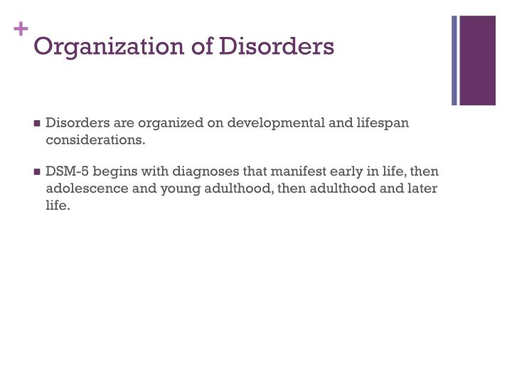 Organization of Disorders
