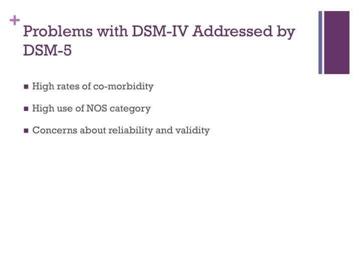 Problems with DSM-IV Addressed by DSM-5