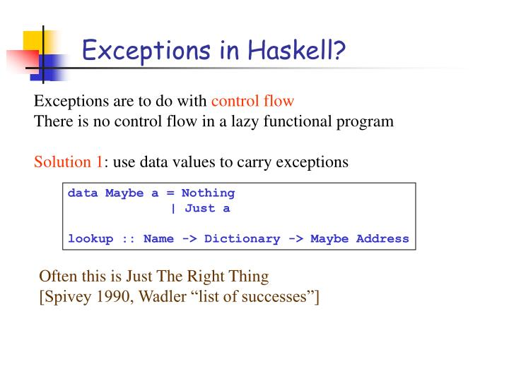 Exceptions in Haskell?