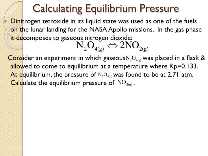 Calculating Equilibrium Pressure