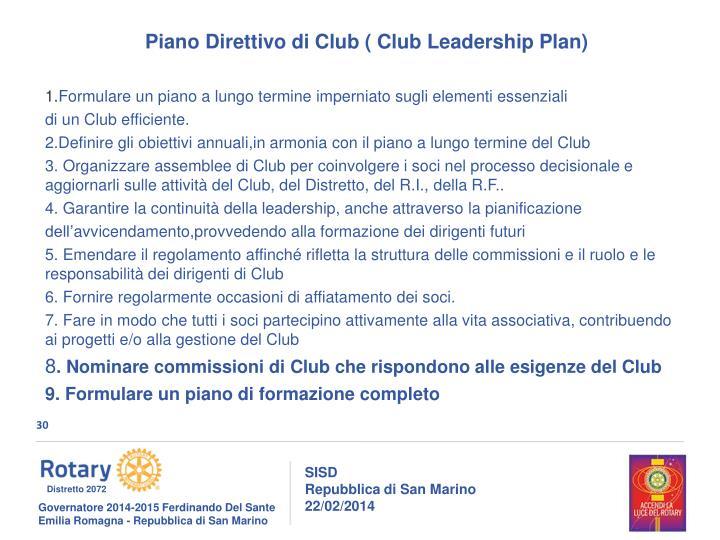 Piano Direttivo di Club ( Club Leadership Plan)