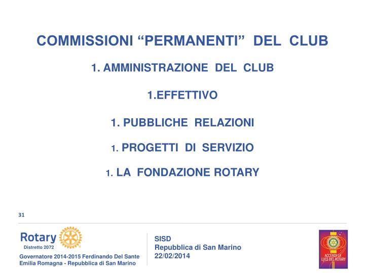 """COMMISSIONI """"PERMANENTI""""  DEL  CLUB"""