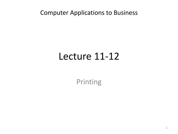 lecture 11 12 n.