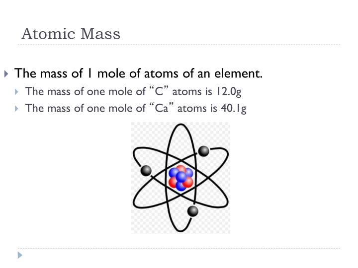 The mass of 1 mole of atoms of an element.