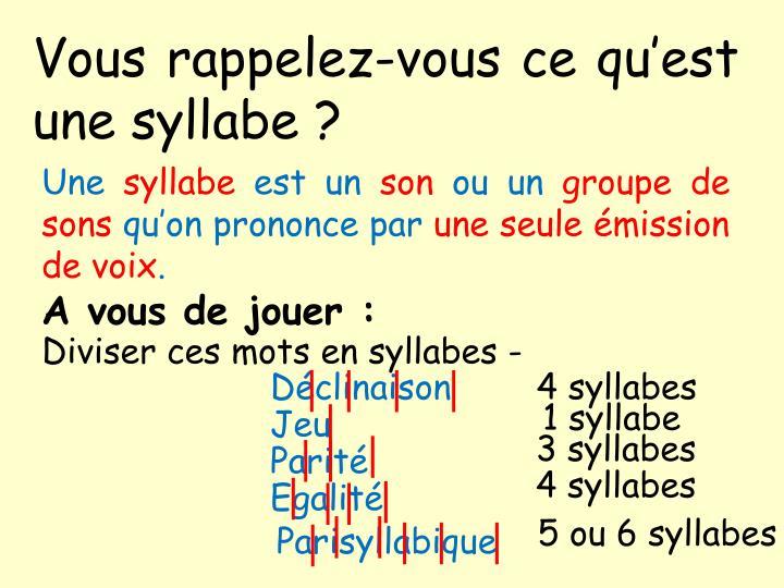 Vous rappelez-vous ce qu'est une syllabe ?
