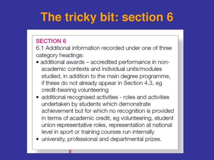The tricky bit: section 6