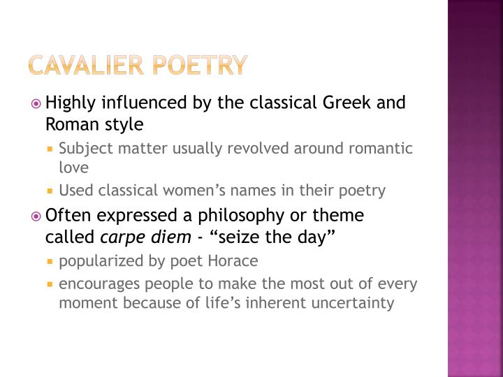 what is cavalier poetry