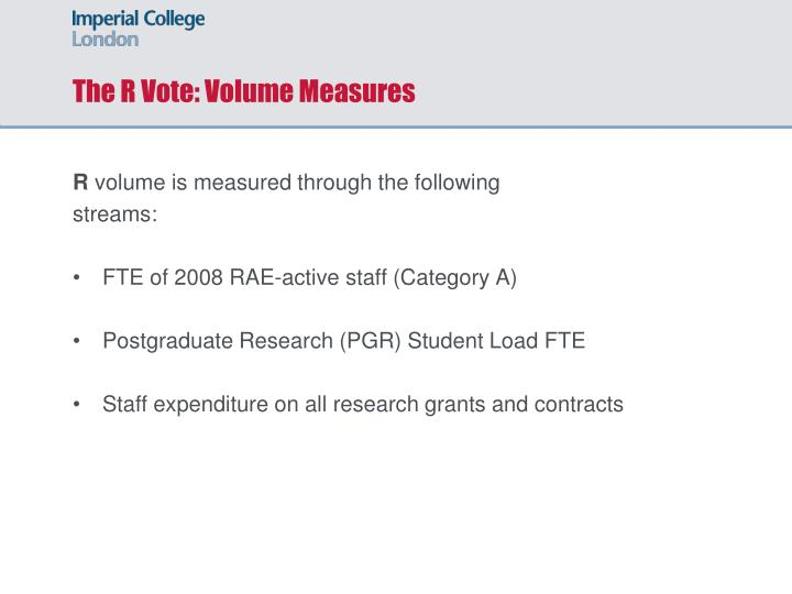 The R Vote: Volume Measures