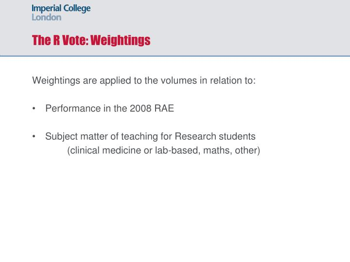 The R Vote: Weightings