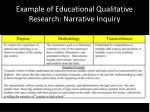 example of educational qualitative research narrative inquiry