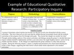 example of educational qualitative research participatory inquiry