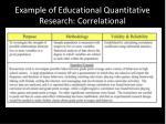 example of educational quantitative research correlational