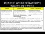 example of educational quantitative research experimental