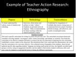 example of teacher action research ethnography