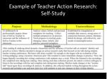 example of teacher action research self study