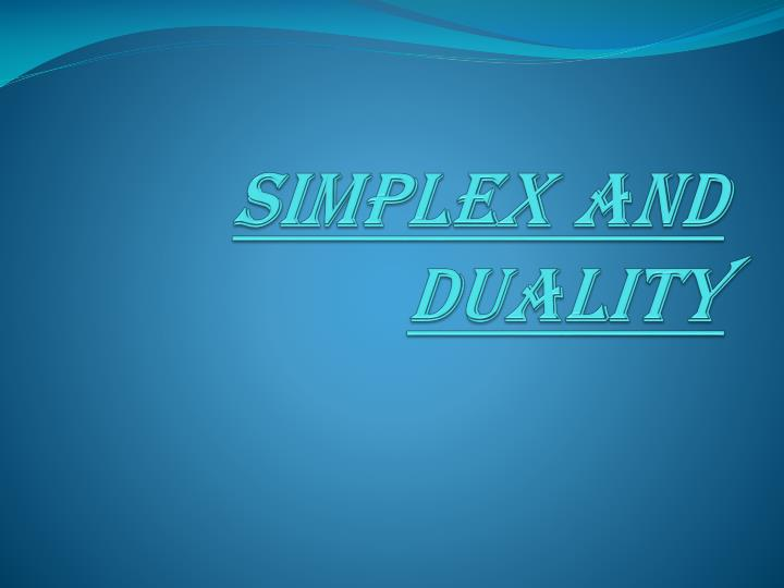 simplex and duality