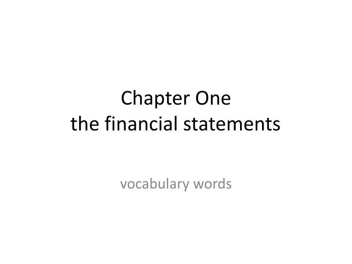 chapter one the financial statements n.