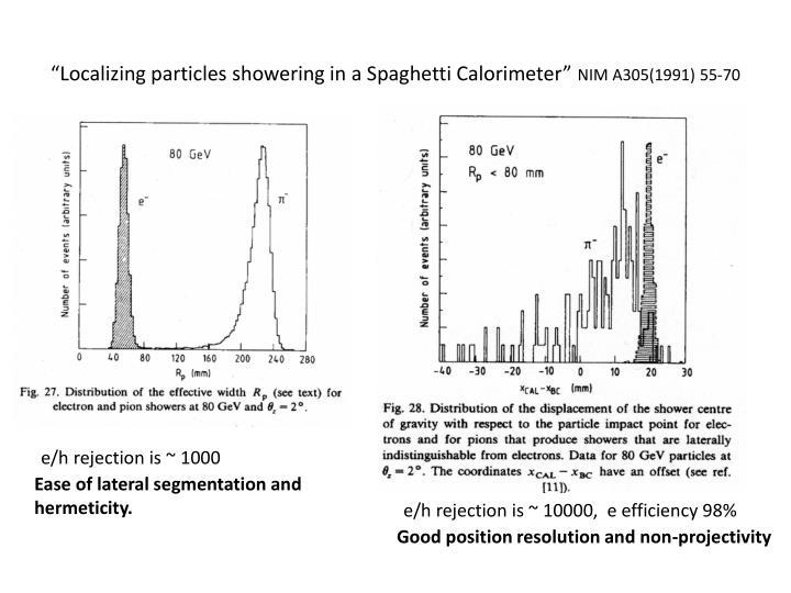 """Localizing particles showering in a Spaghetti Calorimeter"""