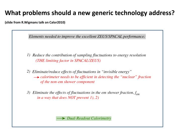 What problems should a new generic technology address?