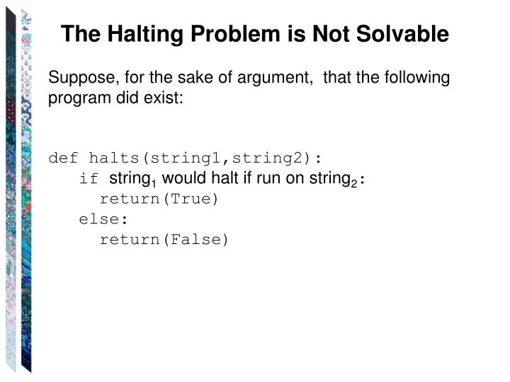 The Halting Problem is Not Solvable